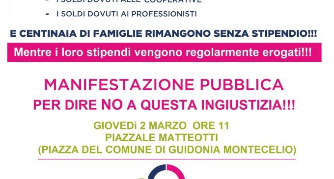 Guidonia/Mancati pagamenti del Comune a ditte, cooperative e professionisti, giovedì 2 marzo manifestazione pubblica organizzata da Di Silvio