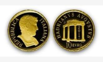 Tivoli/Arriva la prima micromoneta d'oro dedicata all'imperatore Adriano e realizzata dalla Zecca dello Stato: sul rovescio la rappresentazione del Tempio di Venere di Villa Adriana